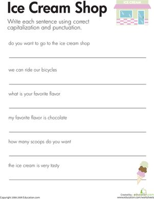Printables Correct Grammar Worksheets shops kid and the ojays on pinterest second grade grammar punctuation worksheets fix sentences ice cream shop