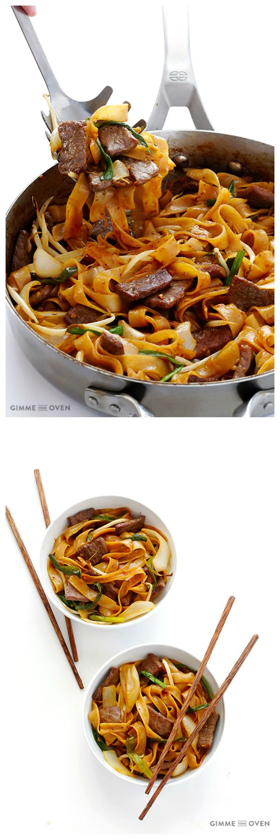 Beef Chow Fun -- it's easy to make this classic beef and noodles dish homemade! | gimmesomeoven.com