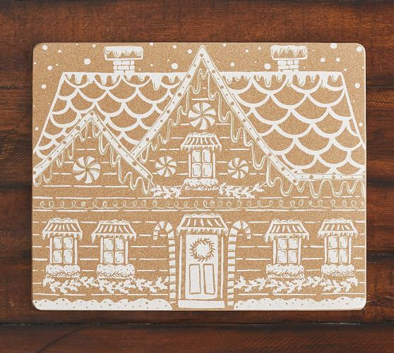 Metallic Gingerbread House Cork Placemats Set Of 4 Placemats Christmas Placemats Gingerbread House