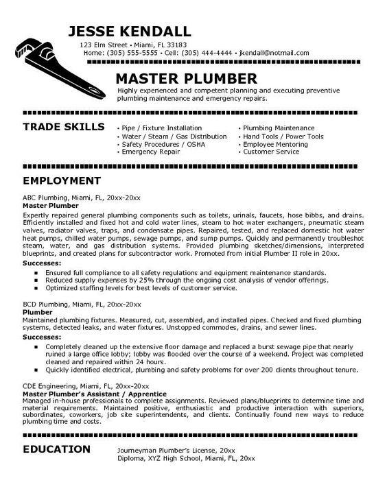 Plumbers Jobs Cover Letter For Plumber Job Resumes \ Career - purchasing assistant job description