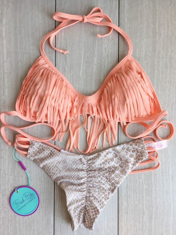 Nude Peach And Sande Fringe and Beach Babes Signature 3 Strap Cheekies. * Note these bottoms are cheeky so if you are unsure of size get a size: