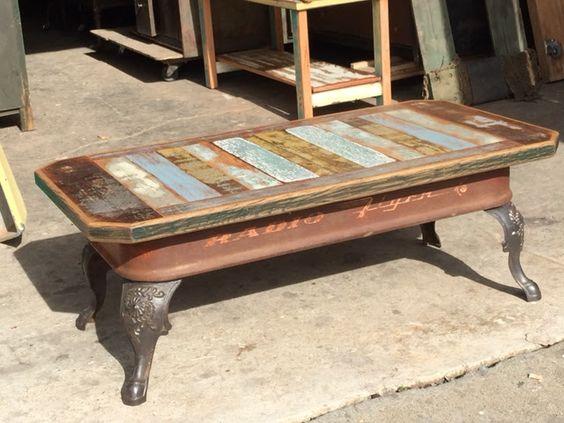 Coffee table antique cast iron stove legs vintage radio for Cast iron outdoor coffee table
