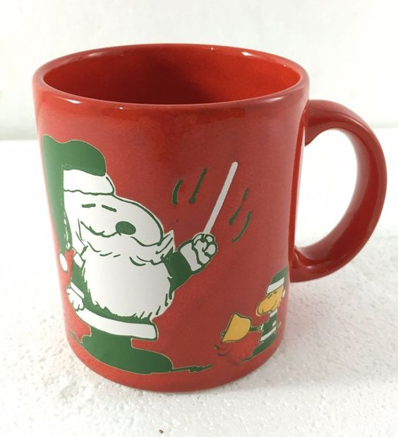 Waechtersbach Peanuts Snoopy Santa Claus Woodstock Red Christmas Mug Cup NEW