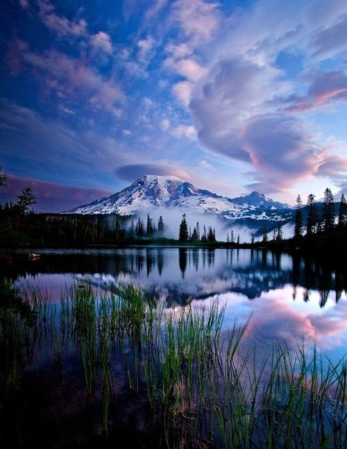 Mount Rainier, Washington - This just makes me want to be sitting in a canoe in the middle of the lake, fishing, alone.: