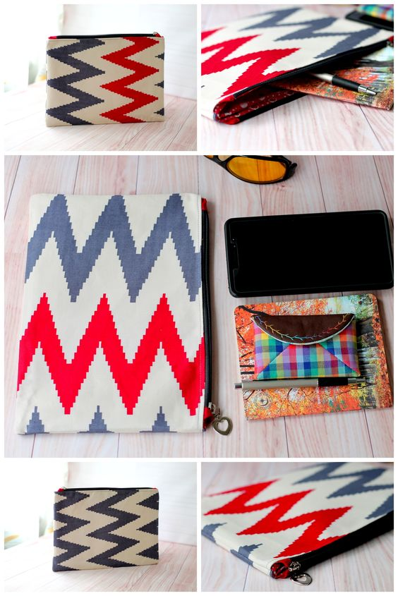 This grey red pouch has 2 different colors, on one side the chevron is red and grey and only gray chevron on the other side. A Very unique, One of a kind pouch.