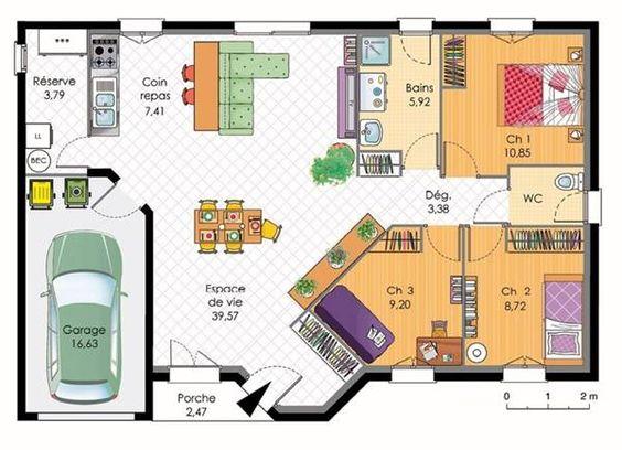 plan-de-maison-plain-pied-4-chambres.jpg (600×435)   Perfect house   Pinterest