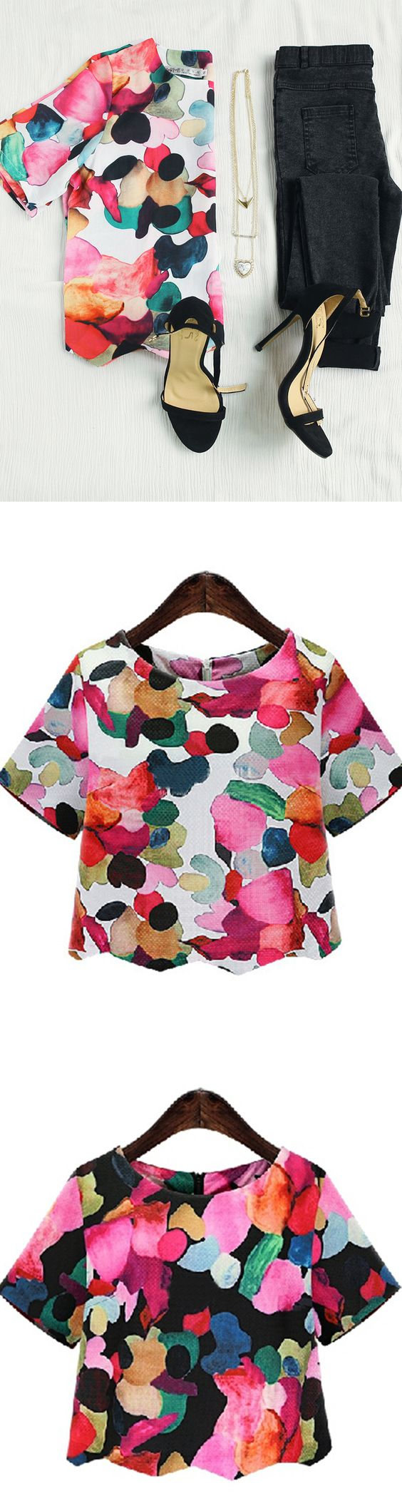 I super love this cute top,sweet floral print blouse would look awesome with dark skinny jeans and flats,must have it for Spring: