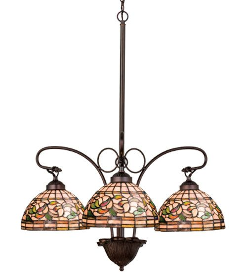 "24""W Tiffany Turning Leaf 3 LT Chandelier"