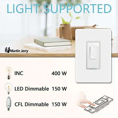 Smart Dimmer Switch By Martin Jerry Dimmer Switch For Led Lights Single Pole Compatible With Alexa As Wifi Li Smart Dimmer Switch Dimmer Switch Light Switch