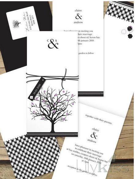 Jacaranda joy - Lilykiss wedding invitation.  Black and white.: Lilykiss Wedding, Designs Jacaranda, Girls Weddings, Wedding Invitations, Joy Lilykiss, Jacaranda Joy, Joy Invitations, Invitations Australia