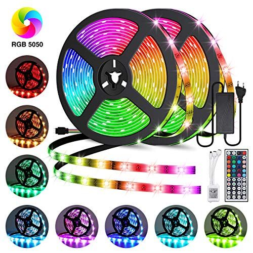 Elfeland Led Streifen 10m Rgb Led Strip 300 Leds 5050smd Led Band Lichterkette Bander Hintergrundbeleuchtung Mit 44 Tasten Fernbedienung Ip65 Selbstk Lichtleiste