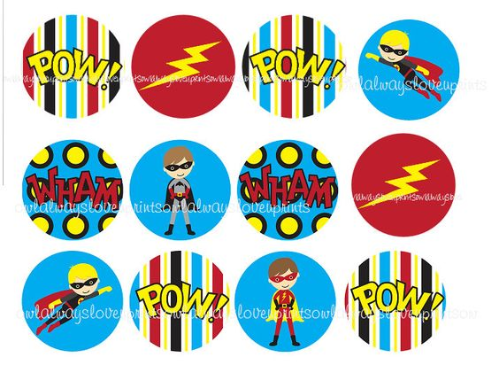 Super Hero Printable Cup Cake Toppers 2 Inch Circles - Birthday - Pow Wham Boom