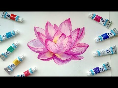 How To Paint Watercolor Lotus Flower Painting Demonstration