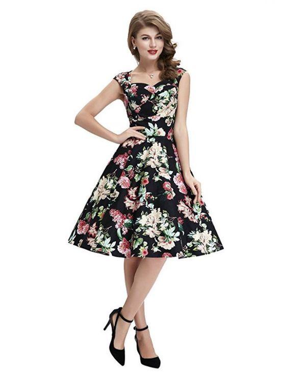 50s Vintage Style Floral Fever Retro Print Swing Dress