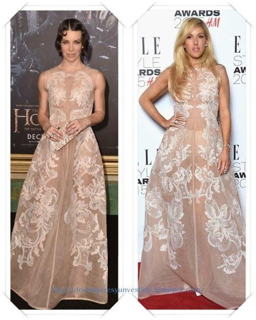 Un vestido de Alberta Ferretti primavera 2015 lo llevo Evangeline Lilly a la premiere de El Hobbit; después se lo vimos a Ellie Goulding en los Elle Style Awards