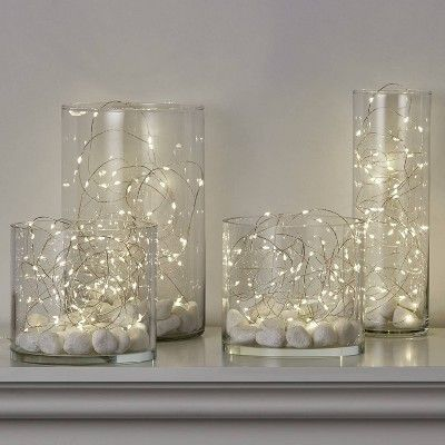 Philips 50ct Battery Operated Iridescent Christmas Premium LED Dewdrop String Lights Warm White with Silver Wire