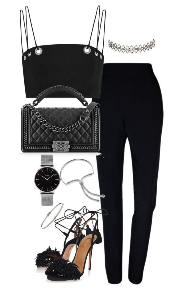 """""""Untitled #2682"""" by theeuropeancloset ❤ liked on Polyvore featuring Plakinger, Thierry Mugler, Chanel, Aquazzura, Monica Vinader, Topshop and Assya London"""