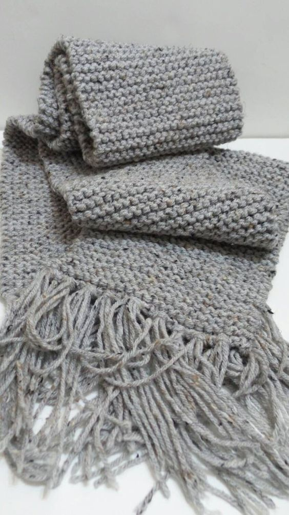 Grey Knitted Scarf, Mens Scarf, Womens Scarf, Long Scarf, Winter Accessories.