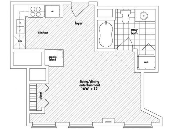 Studio Floor Plan of Property MDA City Apartments Home