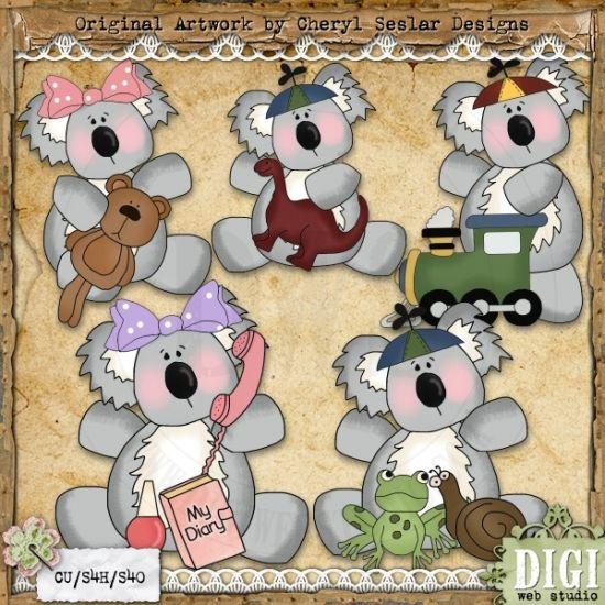 Koala Kids 1 - Exclusive Cheryl Seslar Country Clip Art