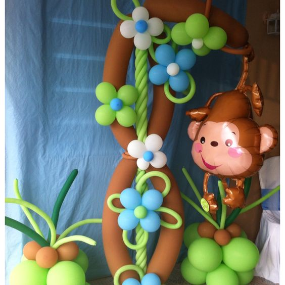 Monkey on a tree the perfect addition for a baby shower decoration balloon decorations - Monkey balloons for baby shower ...