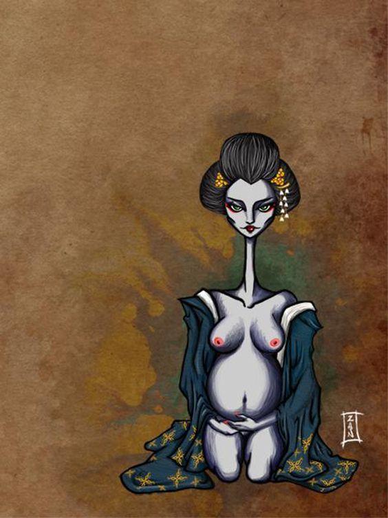 Resultado de imagen de geisha embarazada: