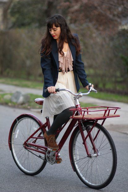 "Veronika Placek ""The trick to cycling in skirts is making sure that they're easy to move in, but not too voluminous - you don't want it getting stuck in your chain!"""