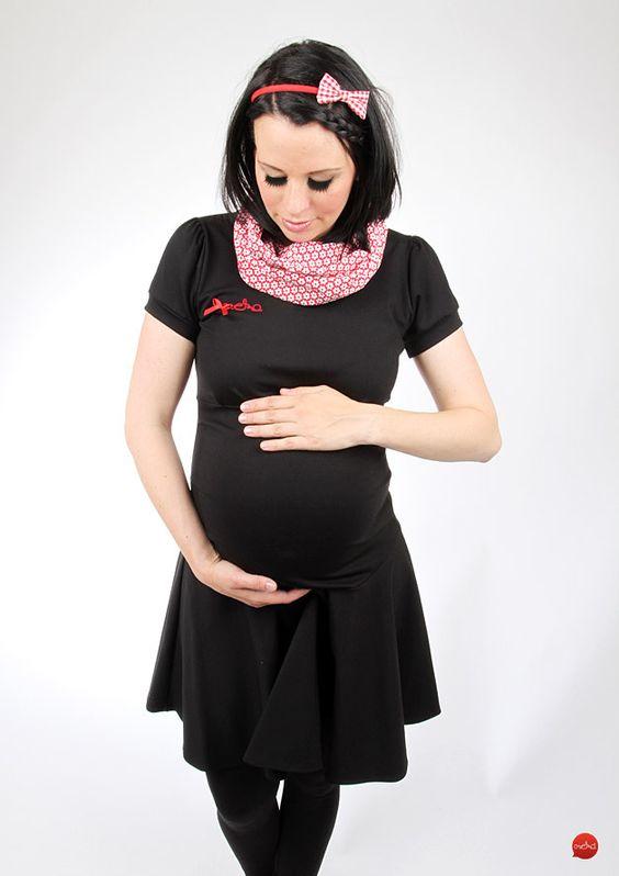 Schwarzes Umstandskleid mit Stehkragen und süßem Schleifchen // black maternity dress with standing collar and cute, little bow via DaWanda.com