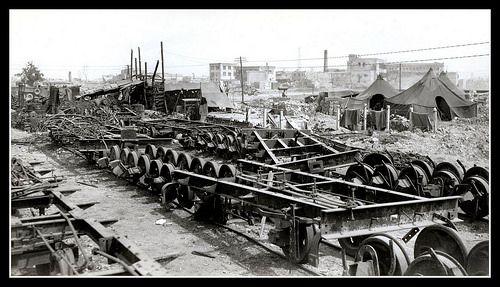 THE OKINAWA RAILROAD -- Wreckage in Naha Rail Yar - June 1945