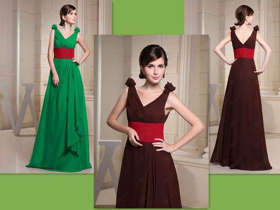 A-line V-neck Floor-length Brown Chiffon Dress Red Waistband Bridesmaid Dresses