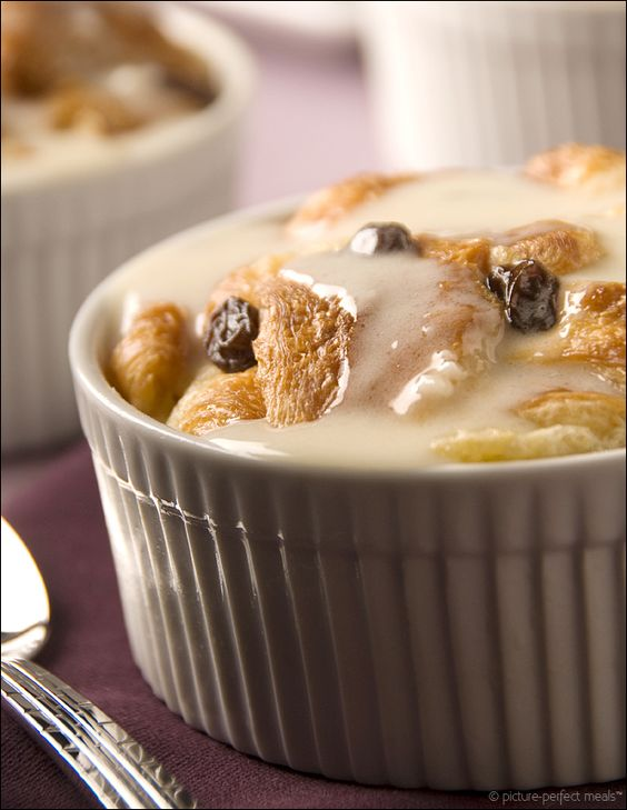 Apple Rum Raisin Croissant Bread Pudding with Sweet Almond Glaze