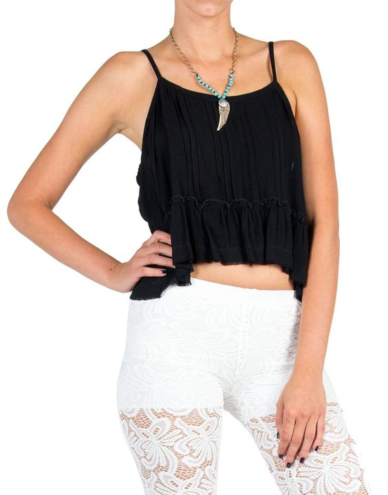 Pleated Front Ruffle Bottom Crop Tank - Small - Black