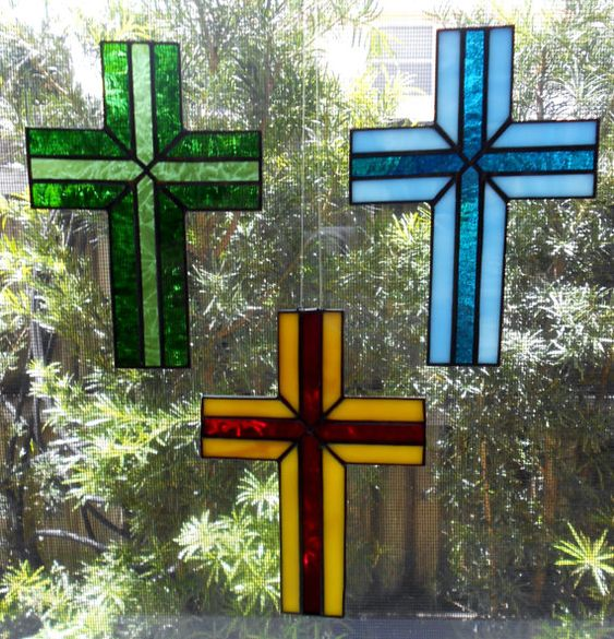 "6"" Stained Glass Cross Suncatcher, Choice of Colors"
