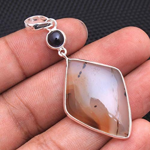 Sterling Silver Natural Mined Agate Charm Pendant