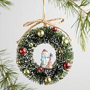 Bottlebrush Retro Wreath Ornaments Set of 3