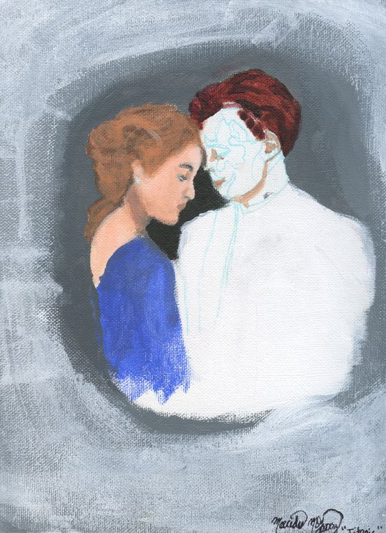 in progress portrait painting of Rose & Jack from Titanic :) took 2D Design and was introduced to painting with acrylics and fell in LOVE <3