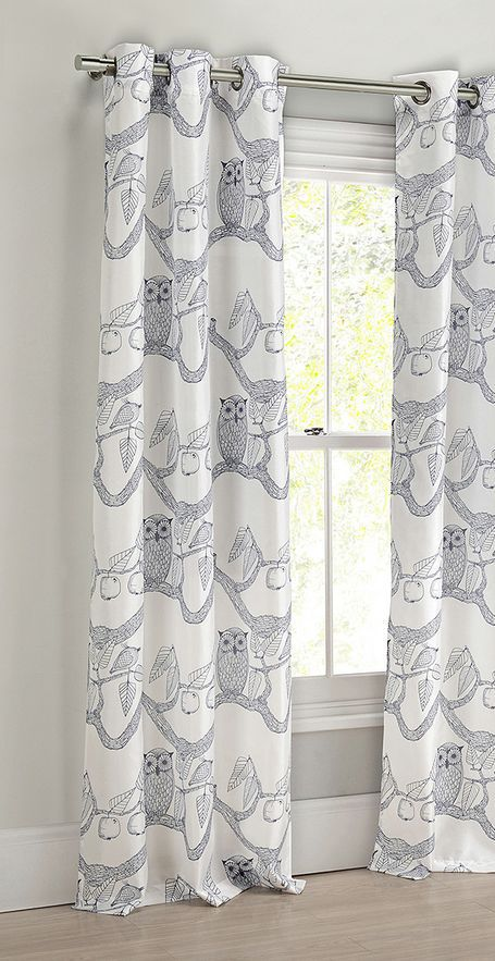 Navy Eve Owl Curtain Panel - Set of Two