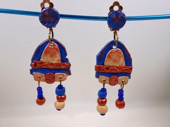 Boucles-clips  chandelier rustiques bleu / par MesOdalisques