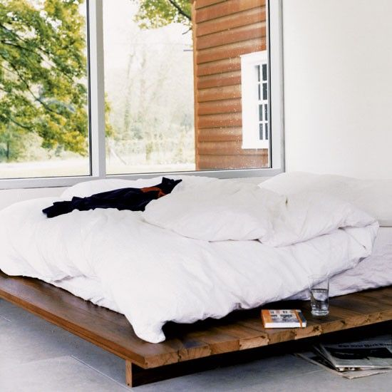 Bedroom. DIY bed frame? A little higher off the ground though, maybe?
