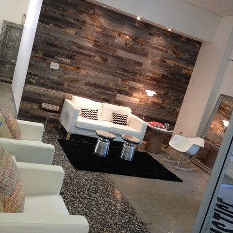Reclaimed weathered wood reclaimed wood walls love this for Paintable peel n stick wallpaper