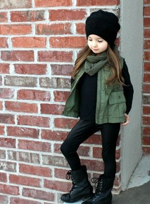 Such a cute & casual comfy winter outfit to wear with one of our twist 'n' slouch slouchies.haute black knight. Also the little black matching boot cuffs would look adorable.