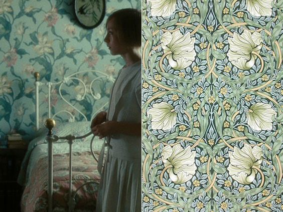 and I cannot stop thinking about this wallpaper, in Briony's room (in the film Atonement):
