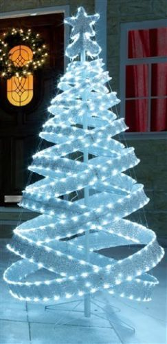 4ft outdoor white silver pre lit pop up spiral christmas tree led ...