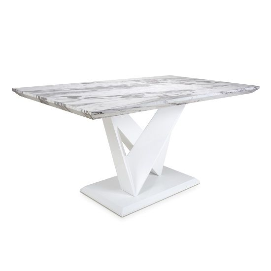 Brezza Medium Gloss Marble Effect Dining Table With White Frame Furniture In Fashion Marble Dining Extendable Glass Dining Table Dining Table Marble