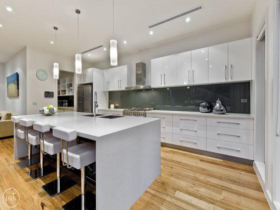 Modern open plan kitchen design using floorboards   kitchen photo ...