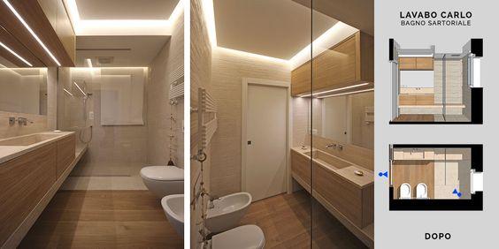 bagno Doccia disegno : . Quando tutto il bagno diventa su misura. Lavandino, area doccia ...