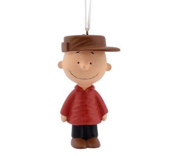 Hallmark Peanuts Charlie Brown in Red Coat Brown Hat Christmas