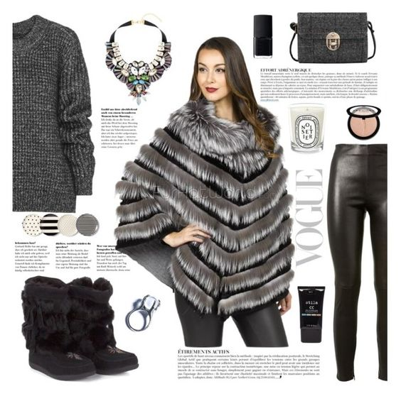 """Grey is for cold"" by furhatworld ❤ liked on Polyvore featuring Anja, Muks, Yves Saint Laurent, Belstaff, Topshop, Kill Star, Kate Spade, Stila, NARS Cosmetics and Sephora Collection"