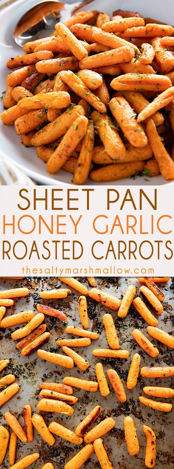 Easy Honey Roasted Carrots are such a flavorful and simple side dish for weeknight meal or the holidays!Carrots are roasted to tender perfection with honey, garlic, and a simple blend of seasonings. #carrots #cookedcarrots #sidedishes #sidedishrecipes #roastedcarrots #thanksgivingrecipessidedishes #saltymarshmallow