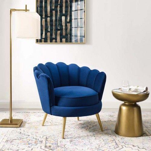 Blue Velvet Round Back Petals Gold Legs Armchair Accent Arm